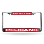 New Orleans Pelicans LASER Chrome Frame  - RED BACKGROUND WITH WHITE LETTERS