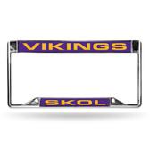 """Minnesota Vikings """"SKOL"""" INVERTED LASER Chrome Frame"""