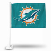 "Miami Dolphins ""LOGO ONLY"" Car Flag TEAL BACKGROUND"