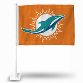 "Miami Dolphins "" LOGO ONLY"" Car Flag   ORANGE BACKGROUND"