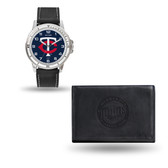Minnesota Twins MENS Black Watch and Wallet
