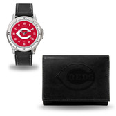 Cincinnati Reds MENS Black Watch and Wallet
