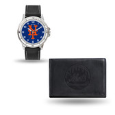 New York Mets MENS Black Watch and Wallet