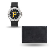 Pittsburgh Pirates MENS Black Watch and Wallet