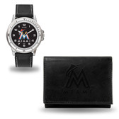 Miami Marlins MENS Black Watch and Wallet