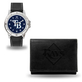 Tampa Bay Rays MENS Black Watch and Wallet