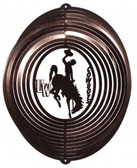 Wyoming Cowboys Circle Swirly Metal Wind Spinner