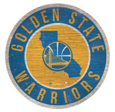 Golden State Warriors Sign Wood 12 Inch Round State Design