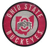 Ohio State Buckeyes Sign Wood 12 Inch Round State Design
