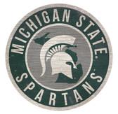 Michigan State Spartans Sign Wood 12 Inch Round State Design