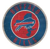 Buffalo Bills Sign Wood 12 Inch Round State Design