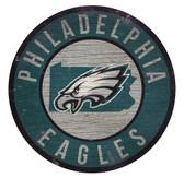 Philadelphia Eagles Sign Wood 12 Inch Round State Design