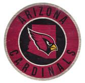 Arizona Cardinals Sign Wood 12 Inch Round State Design