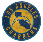 Los Angeles Chargers Sign Wood 12 Inch Round State Design