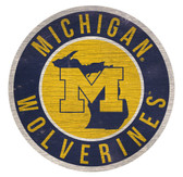 Michigan Wolverines Sign Wood 12 Inch Round State Design