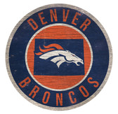 Denver Broncos Sign Wood 12 Inch Round State Design