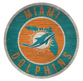 Miami Dolphins Sign Wood 12 Inch Round State Design