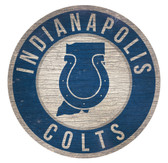 Indianapolis Colts Sign Wood 12 Inch Round State Design