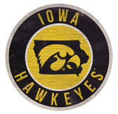 Iowa Hawkeyes Sign Wood 12 Inch Round State Design