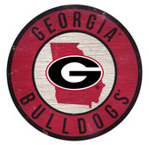 Georgia Bulldogs Sign Wood 12 Inch Round State Design
