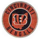 Cincinnati Bengals Sign Wood 12 Inch Round State Design