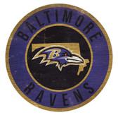 Baltimore Ravens Sign Wood 12 Inch Round State Design