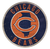 Chicago Bears Sign Wood 12 Inch Round State Design