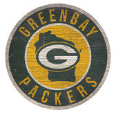 Green Bay Packers Sign Wood 12 Inch Round State Design