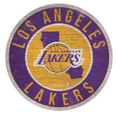 Los Angeles Lakers Sign Wood 12 Inch Round State Design
