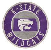Kansas State Wildcats Sign Wood 12 Inch Round State Design