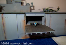 1/285th Scale USS Wasp LHD-1 By GameCraft Miniatures. Elevator shot.
