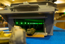 1/285th Scale USS Wasp LHD-1 By GameCraft Miniatures. Interior view through back door.  Interior lighting illuminated.