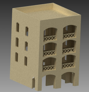 20mm Middle East Four Story Building - 20MMDF155