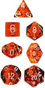 Translucent Polyhedral Orange/white 7-Die Set