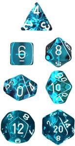 Translucent Polyhedral Teal/white 7-Die Set