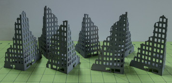 6mm Tall Ruined City Buildings (Matboard) - 285CSS056