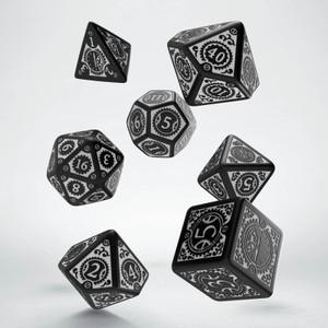 Steampunk Clockwork Dice Set Black/White (7)