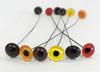 Medium Grade Glass Eyes shown from left in Medium Brown, Straw, Hazel, Yellow, Dark Brown & Red.