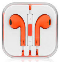 Earphone Earbud Headset Headphone 1 pcs. ORANGE Color/Barcode.