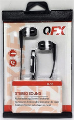 QFX EARPHONES H-55 W/Mic Black Carded 12pcs.