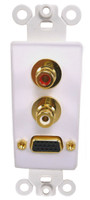 VGA and Dual RCA jack wall plate insert, Gold plated  Calrad 28-160G