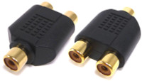 RCA female to two RCA female jack Y adapter