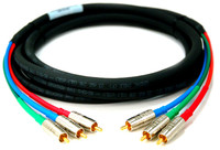 Custom Component Video Cable, RCA to RCA, Canare Connectors, In-wall rated