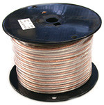 Clear PVC Speaker wire, 12AWG, 100 feet long on plastic spool.
