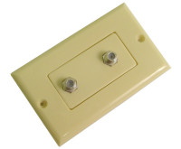 Dual Coax F Connector wall plate, Ivory