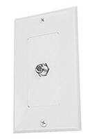 Designer Style wall plate single F Coax Coupler connector, White