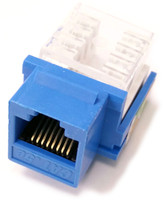 Cat5e Keystone jack, 90 degree insert, 50 micron Gold plated contacts, 350Mhz, Blue