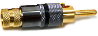Solderless Locking Banana Plug, gold plated, Black Color Coded