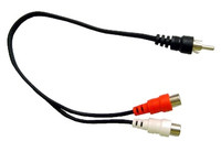 RCA Male to 2 RCA Females, Y cable, 6 inches long