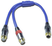 S-Video Y Adapter Cable, Male S-Video to Dual female S-Video Connectors